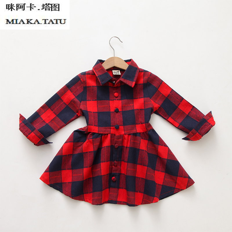 new fashion children clothing child clothes cotton long sleeve baby girl dress kids girls princess red plaid dresses with belt адаптер dell qlogic 2562 dual port 8gb fibre channel hba pci e x8 full profile kit 406 bbek