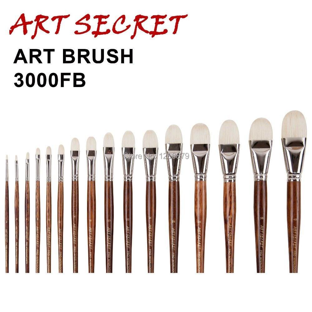 High Quality Paint Art Brushes Oil Painting Brush 3000FB Professional Interlocked Chungking White Bristle Long Oak Wood Handle