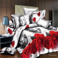 مارلين مونرو 3d مجموعة الفراش الملكة حجم الفراش الزهور 3d أغطية السرير الكتان المنسوجات المنزلية لحاف تغطية 4 قطعة/المجموعة لحاف الغلاف