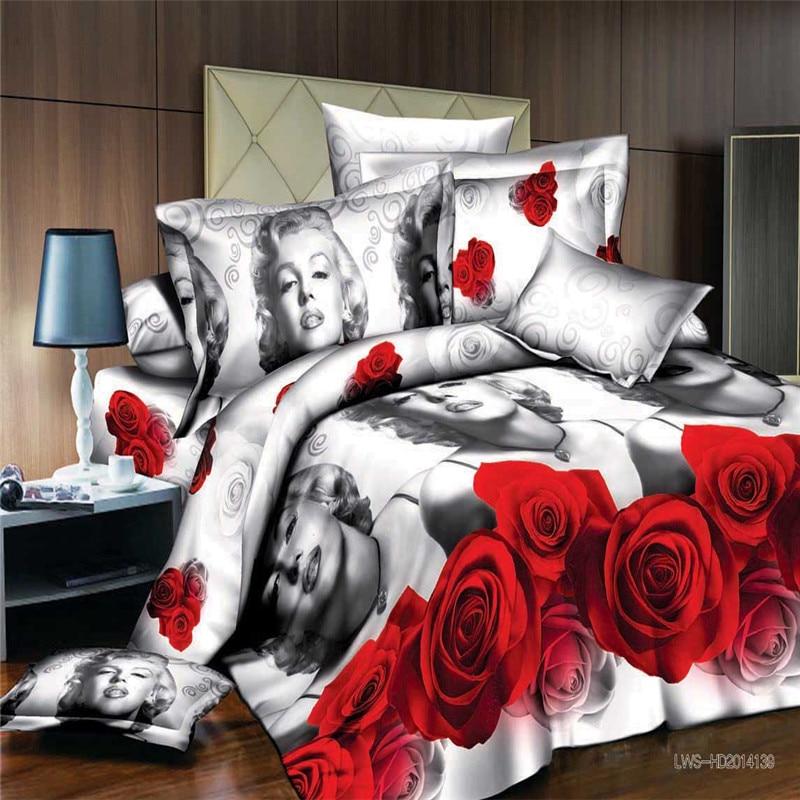Marilyn monroe 3d bedding queen size bedding set flowers 3d bed linen home textile bedclothes duvet cover 4pcs/set quilt cover