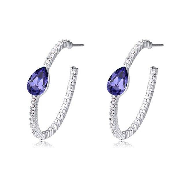 Water Drop Crystal Girls Hoop Earrings Gifts For Girlfriends Women Brand Jewelry 5 Colors To Choose Fashion Wedding Bijoux Gifts