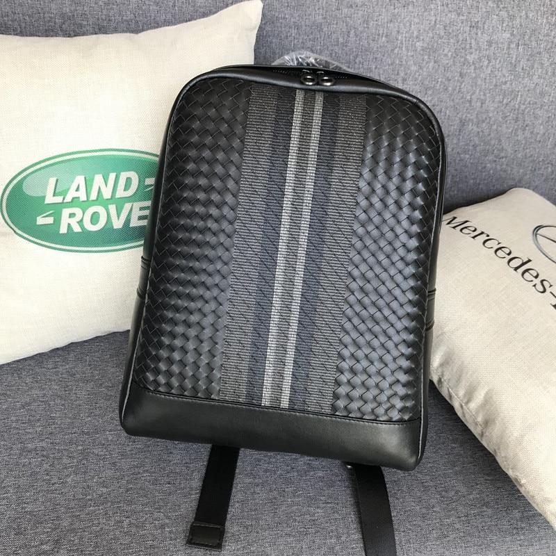 Kaisiludi leather backpack embroidery knitting men s bag double shoulder bag men s bag large capacity