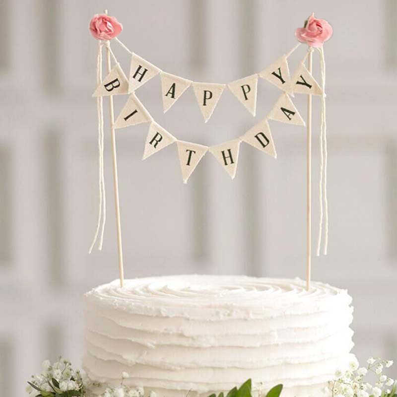 1 set Happy birthday cake topper cake flags wedding birthday party cake decoration baby shower party supplies birthday banner