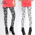 [A6]2014 Spring Fashion Women Phoenix Totem Elastic Printing Leggings Pencil Pants Stretch Skinny Leggings Black/White 25