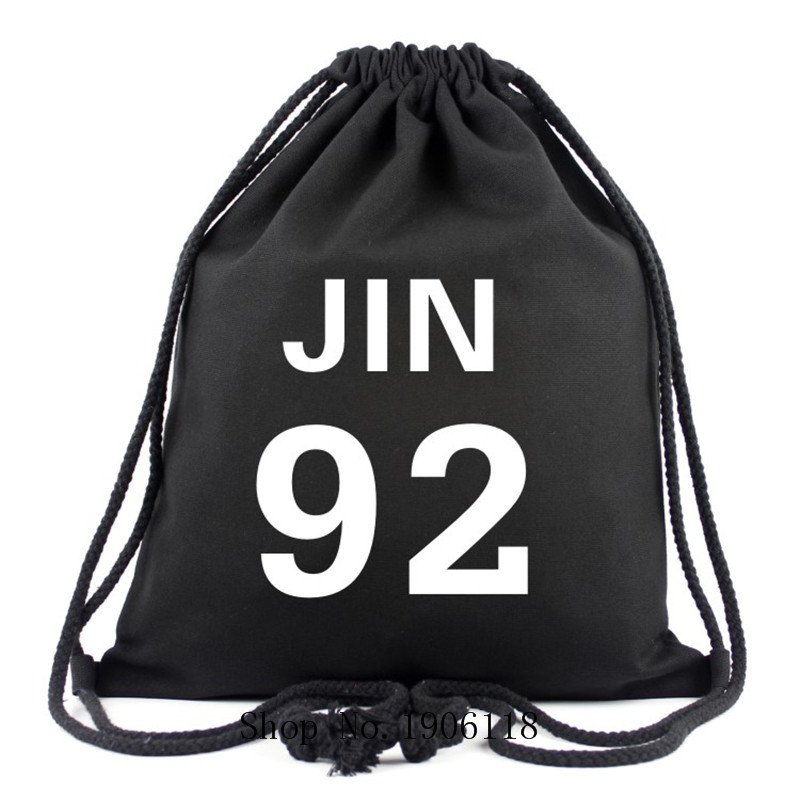 2017 Hot Sale Korean BTS Bags Cute Letter Printing Backpack With JIN 92 Travel Shoulder Bag Canvas Drawstring Bags For Girls