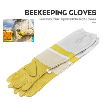 Marka wysokiej oddychająca pszczoła rękawice ochronne rękawy wentylowane profesjonalne Anti pszczoła dla pszczelarz ula pszczelarz tanie i dobre opinie Pszczelarstwo Rękawice Canvas Golden sheepskin high breathable mesh canvas XL XXL XXXL Bee glove