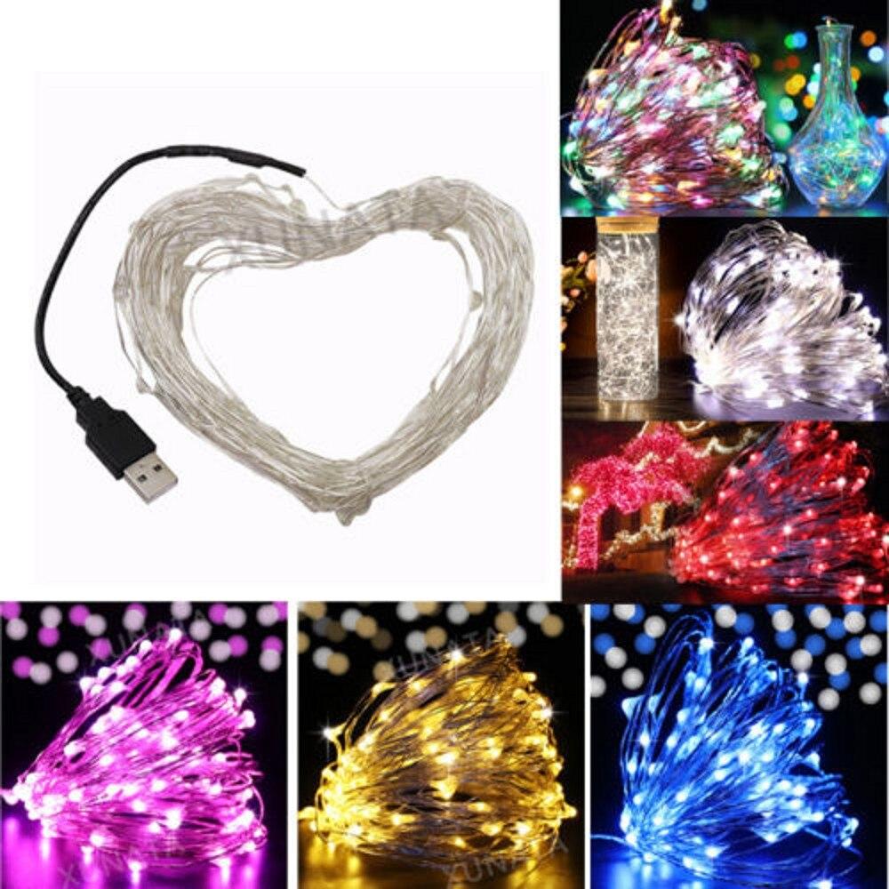 5M 10M USB Led String Lights DC5V USB Powered Led Fairy Light Warm White Silver Wire Christmas Festival Wedding Party Decoration