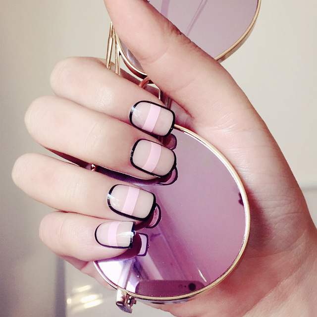 Aliexpress buy new arrival 24 pcs pink stripe short fake new arrival 24 pcs pink stripe short fake nails black wrapped nude nail tips with design prinsesfo Images