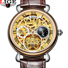 LIGE Stainless Steel Luminous Automatic Mechanical Watches Men Brand Luxury Hollow Skeleton Military Watch