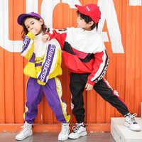 Semplice di Modo di Tendenza Hip Hop Costume per le Ragazze Dei Ragazzi Della Fase Concorrenza Sala Da Ballo Spettacolo di Bambini di Strada Danza Hiphop Jazz Vestiti del Vestito