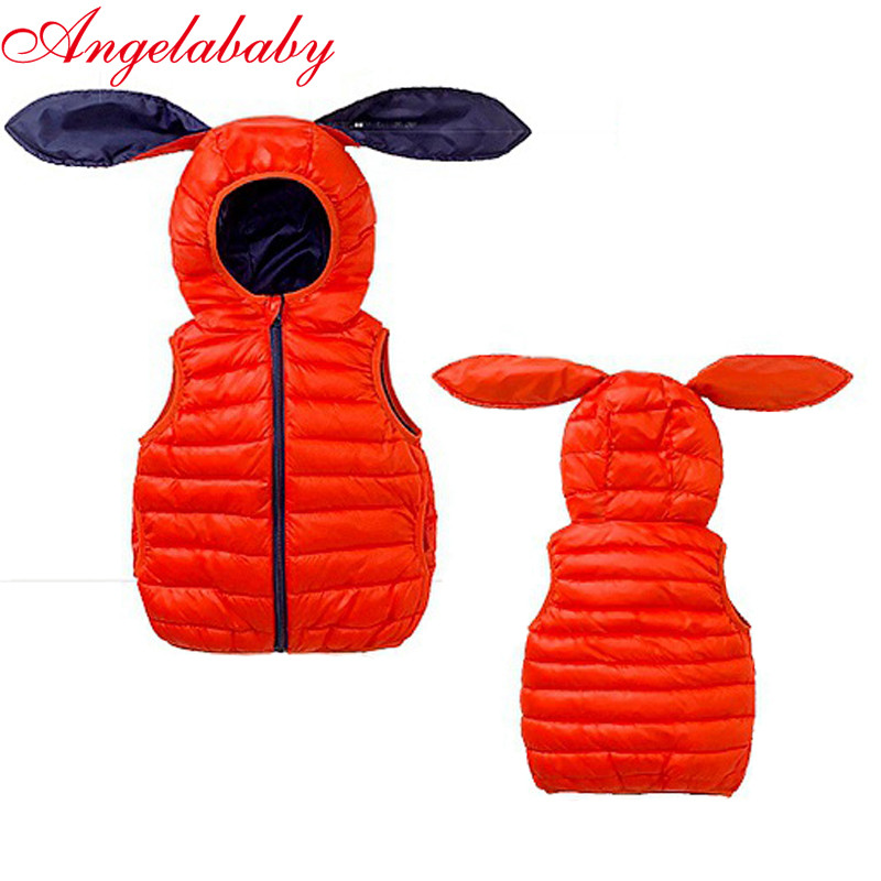 цена на 2018 new Autumn and winter boys and girls fashion coats children's down feather cotton vests kids unisex hooded thin outerwear