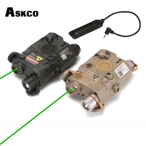 askco airsoft militar tatico an peq 15 caixa de bateria laser ponto verde com branco