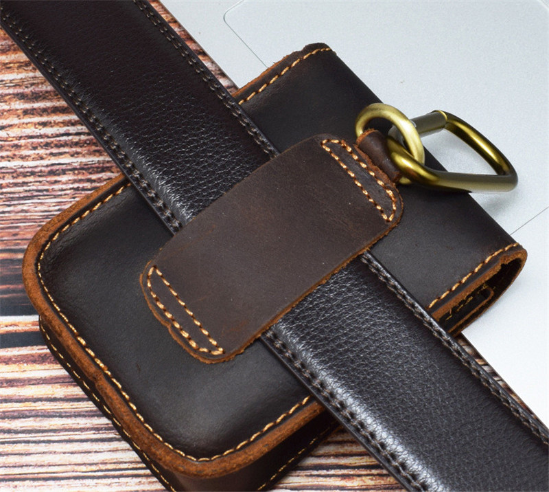 PNDME handmade crazy horse leather small belt bag for men vintage simple high quality genuine leather mini hasp waist packs in Waist Packs from Luggage Bags