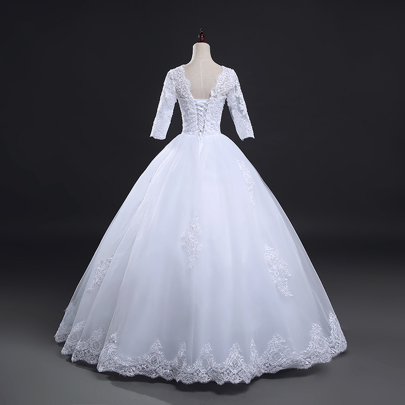 Vintage Lace Up Ball Wedding Dress