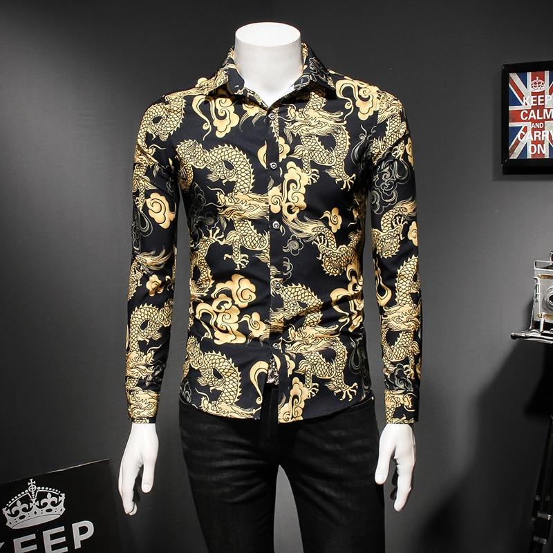 Chinese Dragon Print Shirt Men Fashion 2019 Slim Fit Long Sleeve Mens Casual Shirts Turn Down Collar Social Shirt Dress 5XL-M