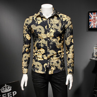 Chinese Dragon Print Shirt Men Fashion 2019 Slim Fit Long Sleeve Mens Casual Shirts Turn Down Collar Social Shirt Dress 5XL M