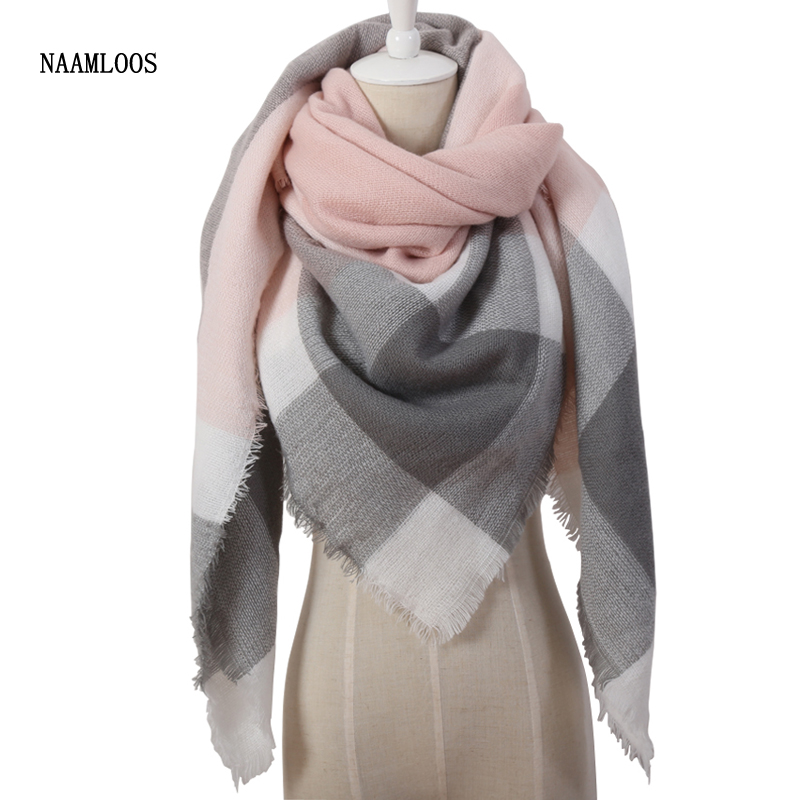 2017 Spring Fashion Brand Designer Cashmere Triangle Pink Scarf Women Shawl Cape Blanket Plaid Foulard Wholesale Drop shipping