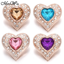 6pcs/lot New Snap Jewelry Rhinestone Love Heart Owl 18mm Buttons Fit Button Necklace Women DIY