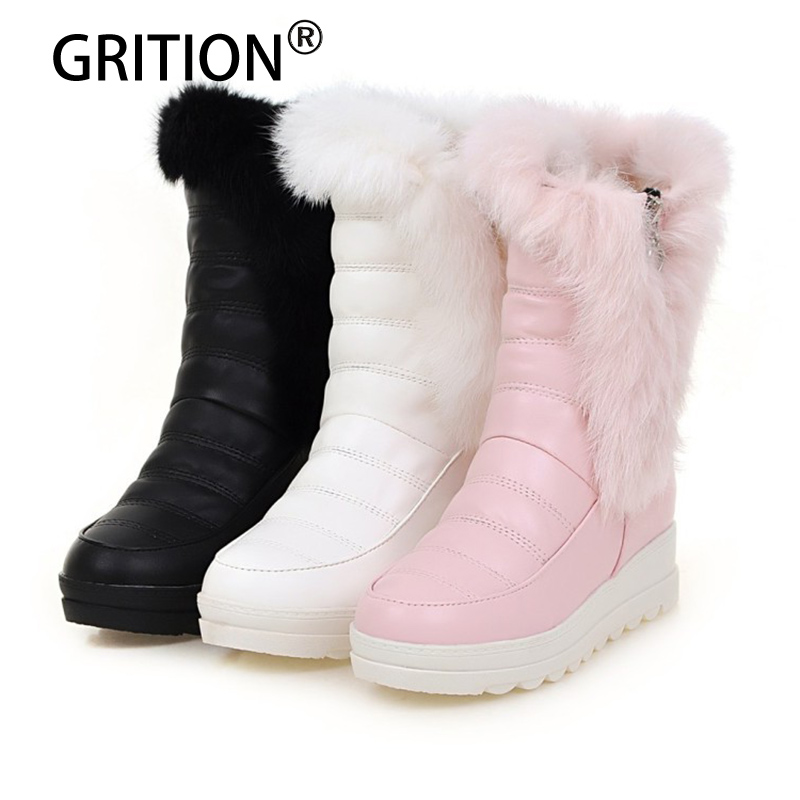 GRITION Free Shipping Women Winter Boots Super Warm Lovely Fashionable Flat Black White Pink Snow Boot Mid Calf Women Shoes