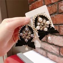 Korea Handmade Vintage Luxurious Rhinestone Pearl Flower Tassel Badge Brooches Pins Fashion Jewelry Woman Accessories-JQGWBH019E