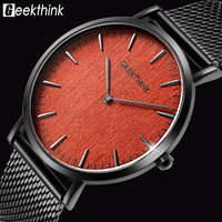 GEEKTHINK Brand Ultra Slim Top Thin Quartz Watch Men Casual Wooden Face Stainless Steel JAPAN Analog