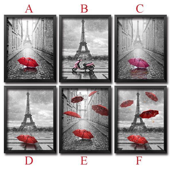 Diy Diamant Peinture Point De Croix Needlework Diamant Mosaïque 5D Bricolage Diamant Broderie Paris Rouge Parapluie Motif Loisirs Artisanat