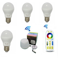 Milight E27 Base 4Pcs E27 6W Led bulbs Lamp RGBCCT AC85 265V With 1pcs 4 Zone Remote and WiFi APP Controller Whole Set mi.light