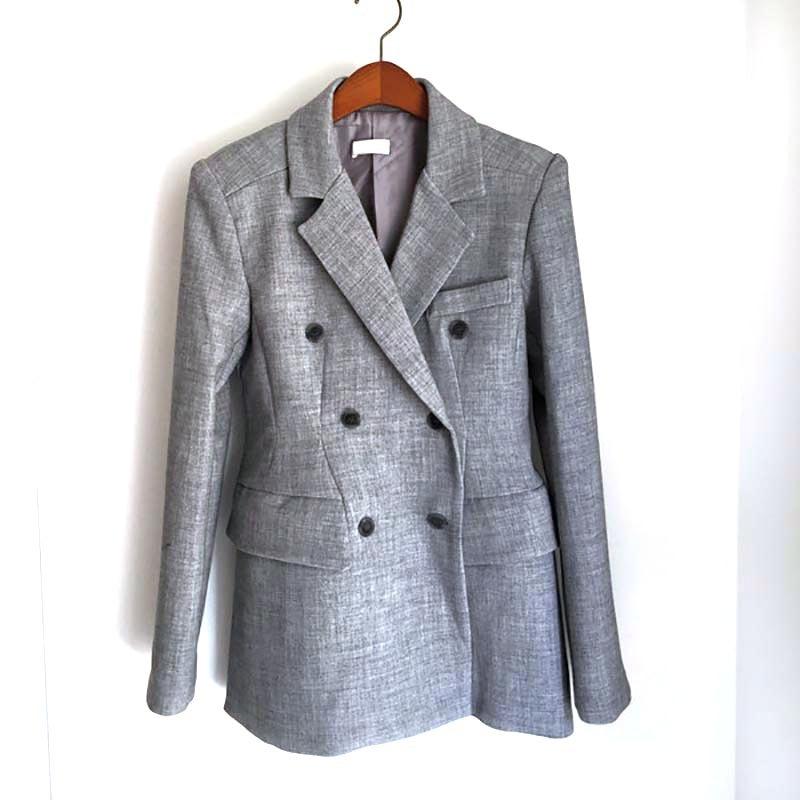 2019 Spring Gray Black Korean Women's Jacket Blazer Solid Double Breasted Coat Female Long Sleeve Office Blazers Women Outerwear