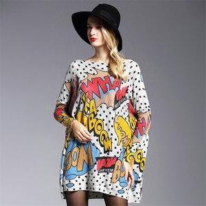 Image 3 - XIKOI Oversized Fashion Women Long Sweaters Shirt Slash Neck Batwing Sleeve Print Pullovers Clothing Female Loose Casual Sweater