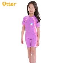 UTTER UVP50+ 1 Set Baby Kids Cartoon Printed Short Sleeve Swim Wear for Children Boys Girls Swimsuits Sport Beachwear