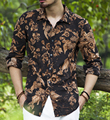 Mens Camisa de Vestir de impresión Floral Slim Fit Hombres Camiseta de Manga Larga algodón de lino con Marca de Alta Calidad de Los Hombres ocasionales Ropa XXL 2016