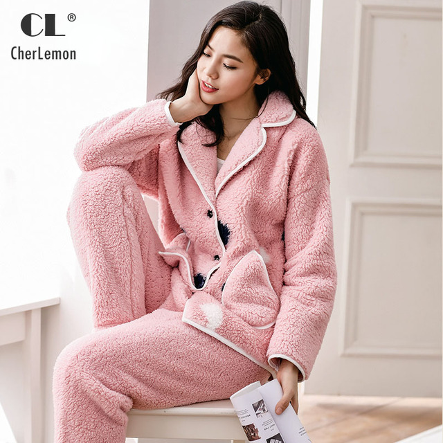 b9a76a045f88 CherLemon Winter Women Thick Berber Fleece Pajamas Ladies Long Sleeve Sweet  Thermal Home Suit Casual Loose Sleepwear Pink