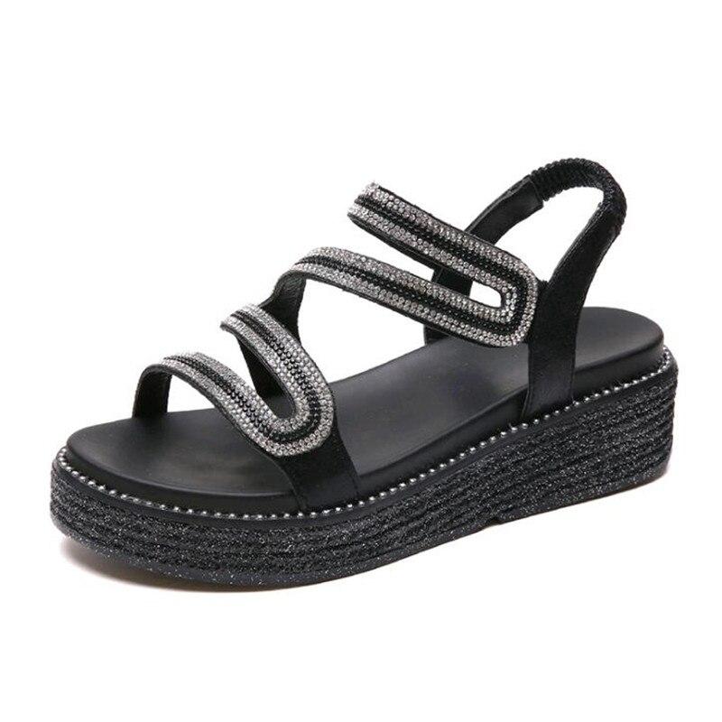 Noir Noir argent Sandales 2019 Argent Mode Chaussures Peep De Femme Style D'été Toe Bling Sandale Femmes Plat Diamant 6xqTa