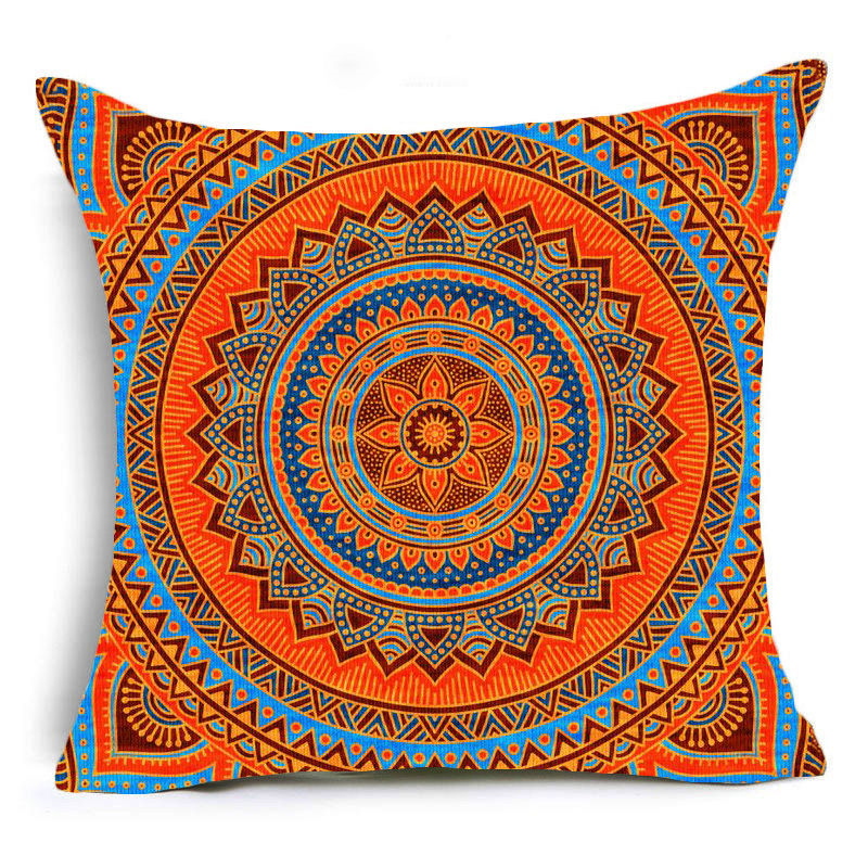 Orange Mandala Print Sofa Cushion Covers