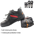 Motorrad Stiefel Männer motorrad schuhe mit leder Racing motorrad schutz knie mit edelstahl + motorrad schuhe|Motorrad-Stiefel|   -