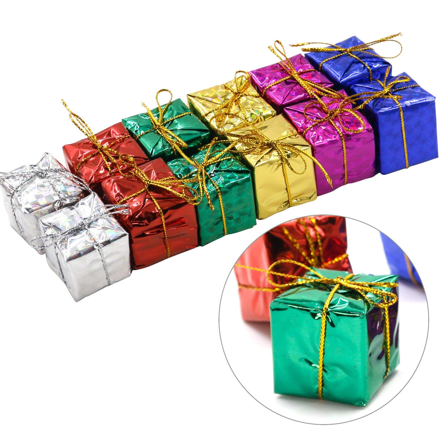 RODE Set of 12 Glitzy Christmas Box Hanging Tree Decorations in Assorted Colours