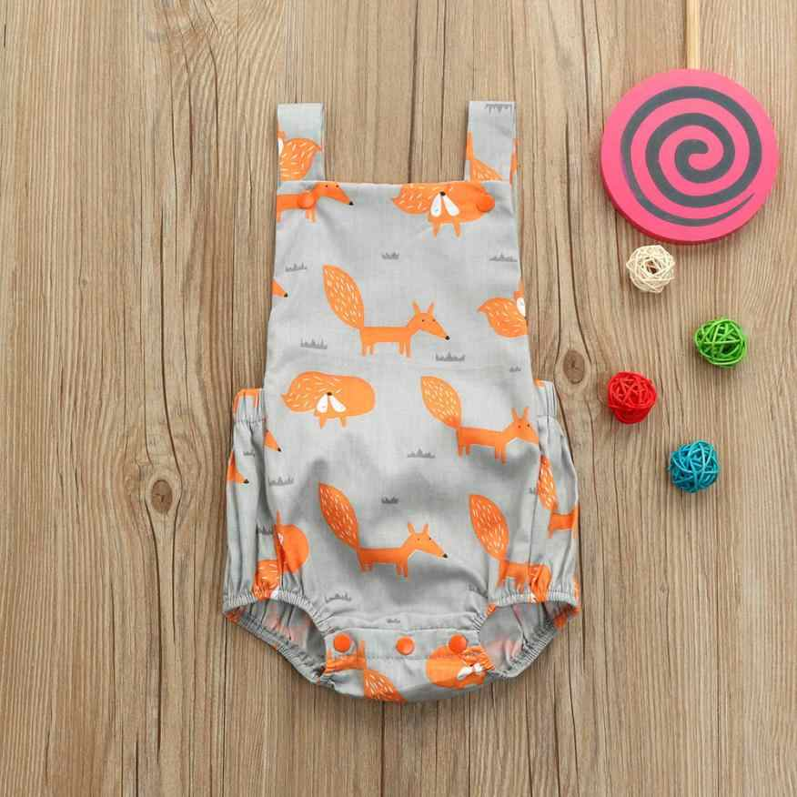 2018 Summer New Toddler Baby Fox Floral Print Vest Sleeveless Cartoon Backless Romper Jumpsuit Dropshipping Animal print #LD