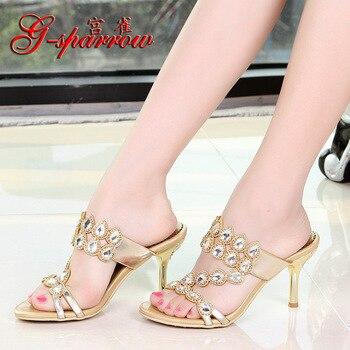 G-SPARROW 2018 Summer Womens High Heel Stiletto Shoes Diamond Ladies Peep Toe Slippers Pink
