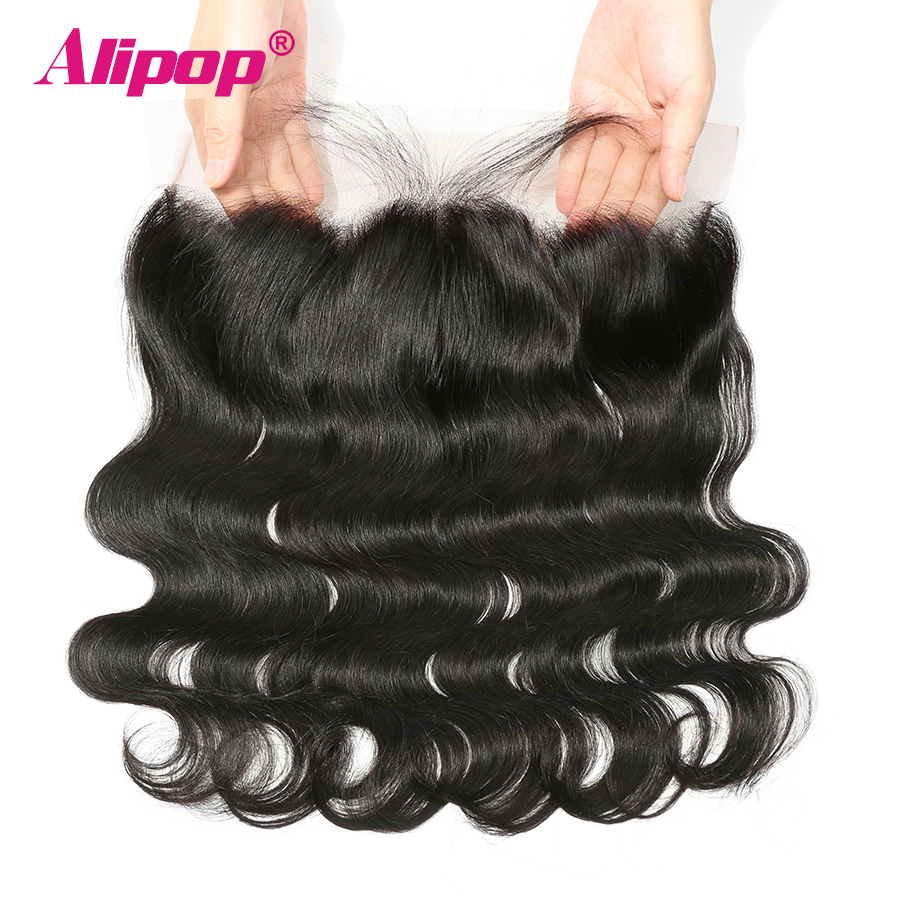 Alipop Hair Pre Plucked 13X4 Øre til Øre Snøre Frontal Closure Remy Brazilian Body Wave 100% Human Hair Lace Frontal Closure