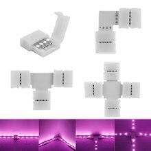 PCB de 4 pines RGB en forma de L T y X, Conector de Clip LED para ángulo de conexión de codo 5050 RGB, tira de luz LED sin soldadura, placa PCB de 10mm 1 unidad
