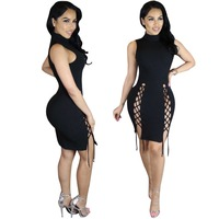 Women Black Criss Cross Lace Up Bandage Dress Sexy Sleeveless High Neck Hollow Out Short Club