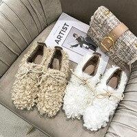 Fashion Round Toe Fur Winter Women Fur Loafers Plush Slip on Cross tied Solid Warm Flats Shoes Elegant Casual Women Shoes