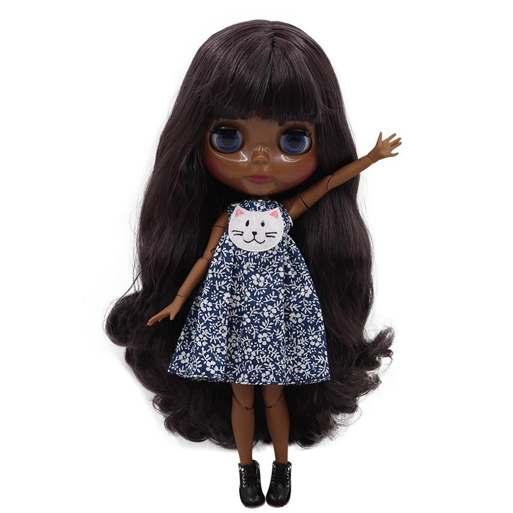 ICY factory blyth doll super black skin tone darkest ultra skin deep purple hair joint body