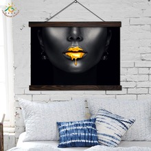 Sexy Poster Modern Art Gold Paint Drips from Lip pop art Canvas Prints Nordic Home Decor Handing Scroll Frame Painting
