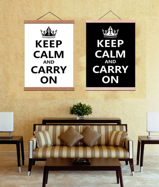 Magnetic Wooden Hanger Scroll Poster Keep Calm and Carry On Second ...