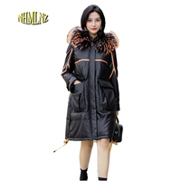 Зимняя женская кожаная куртка пуховик высокого качества, новая модная теплая куртка с капюшоном и воротником из меха енота, овечья кожа, Жен