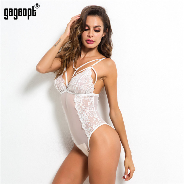 Gagaopt 2018 Summer Fashion Lace Bodysuit Women Perspective Bandage Mesh Bodysuit Black Sexy Bodysuit Jumpsuit Overalls 5