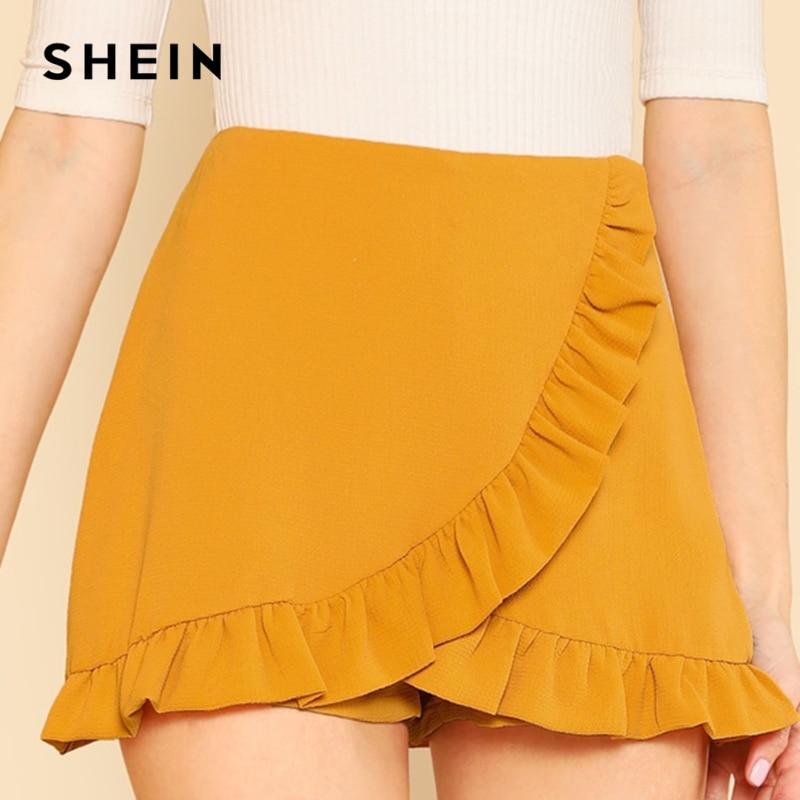 SHEIN Ginger Ruffle Trim Overlap Skort Vacation Mid Waist Zipper Fly Shorts Women Autumn Highstreet Beach Boho Party Shorts 2