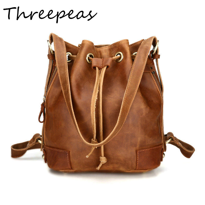 THREEPEAS Women Bucket Bag Genuine Leather Fashion Women Shoulder Bag Drawstring Women Handbag Crossbody Messenger bag