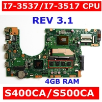 S400CA i7 3537/i7 3517 CPU 4GB RAM Mainboard REV 3.1 For ASUS S400 S400C S400CA S500 S500CS500CA laptop Motherboard test 100% ok